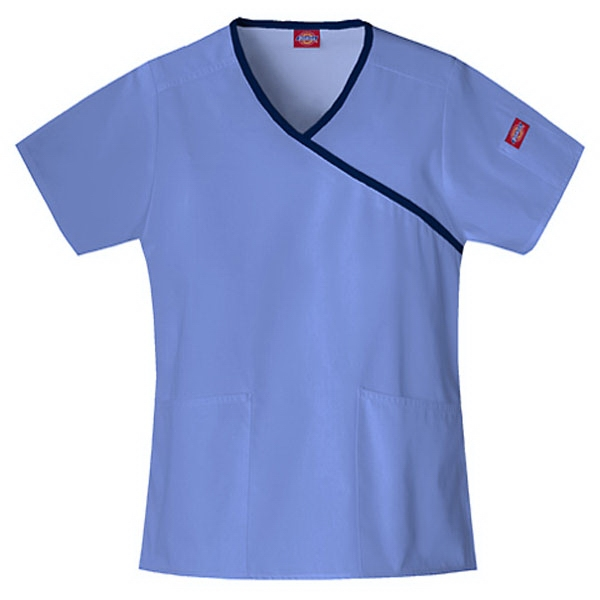 Dickies (r) - Ciel Blue - Sa815206 Mock Wrap Scrub Top #sa815206 - 15 Colors Available Photo