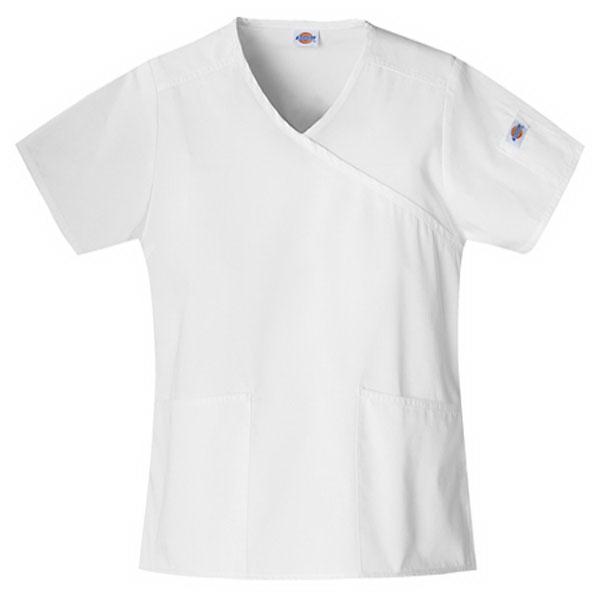 Dickies (r) - Dickies White - Sa815206 Mock Wrap Scrub Top #sa815206 - 15 Colors Available Photo