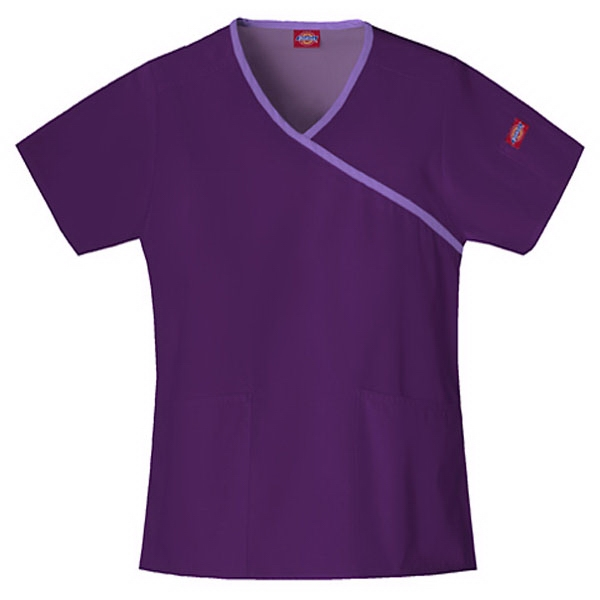 Dickies (r) - Eggplant - Sa815206 Mock Wrap Scrub Top #sa815206 - 15 Colors Available Photo