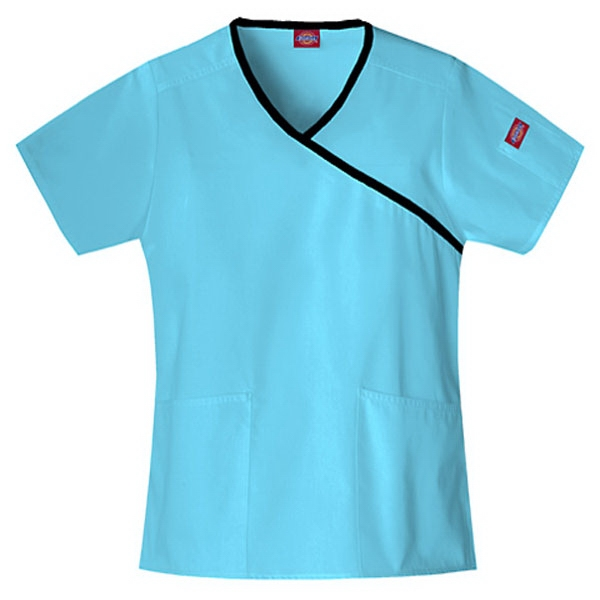 Dickies (r) - Icy Turquoise - Sa815206 Mock Wrap Scrub Top #sa815206 - 15 Colors Available Photo