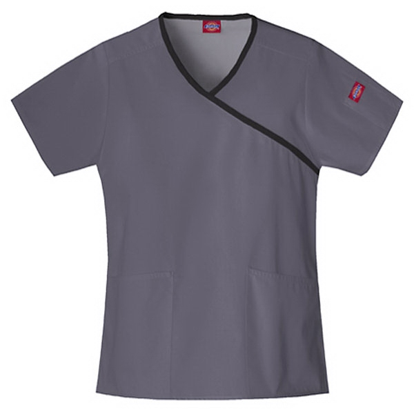 Dickies (r) - Pewter - Sa815206 Mock Wrap Scrub Top #sa815206 - 15 Colors Available Photo