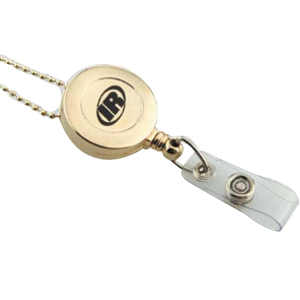 Gold - Retractable Badge Reel With Metal Clip On Back Photo