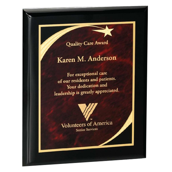 Professional Gallery - Wood - Jet Black Piano Finish Award With Marble Shooting Star Designed Plate Photo