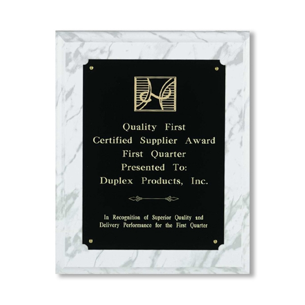 Professional Gallery - Wood - Wood With White Marble Finish Award With Black Brass Plate Photo
