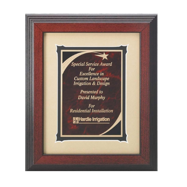 Professional Gallery - Black/red Marble Shooting Star Plate Award With Wood Frame Photo