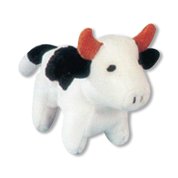 Weebeans (tm) Animal Fair - Cow - Plush Three Inch Toy Animal With Silver Ball Chain, Blank Photo