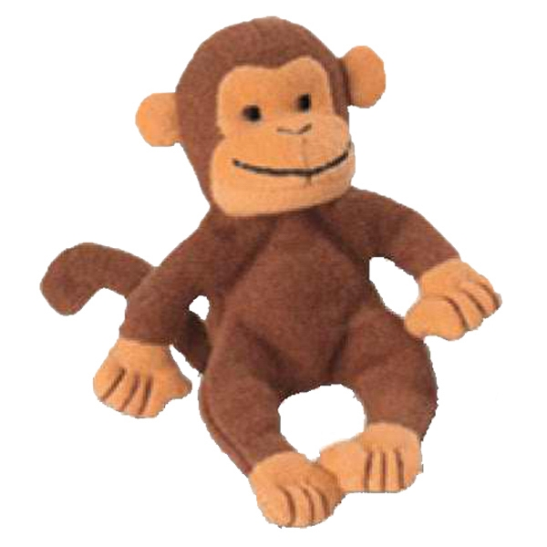 Weebeans (tm) Animal Fair - Monkey - Plush Three Inch Toy Animal With Silver Ball Chain, Blank Photo