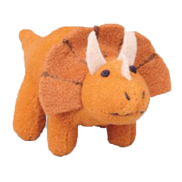 Weebeans (tm) Animal Fair - Triceratops - Three Inch Plush Toy Animal With Silver Ball Chain, Blank Photo