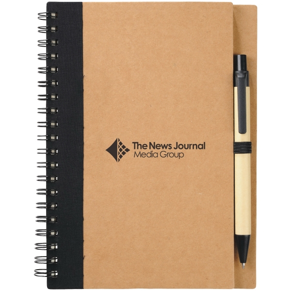 Spiral Notebook With Matching Ballpoint Pen. Recycled Materials Photo