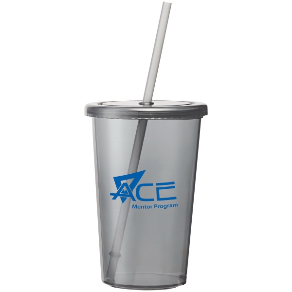 Sizzle - 16 Oz Bpa-free As Plastic, Single-wall Tumbler With Twist-on Lid And Matching Straw Photo
