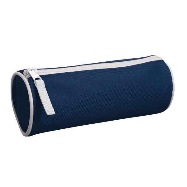 Barrel Vanity Case - Durable polyester barrel vanity case with zippered closure.