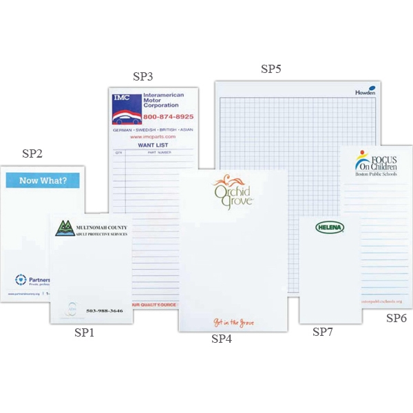 "3 1/2"" X 8 3/8"" - Scratch Pad With 100 Sheets Of 20 Lb. White Bond Paper And Chipboard Back Photo"