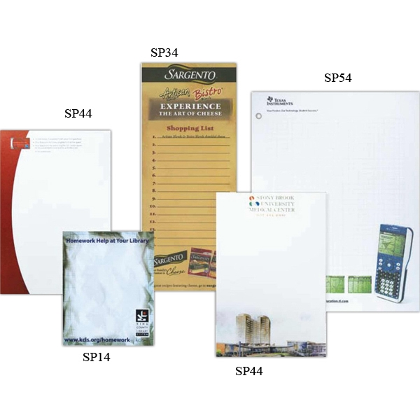 "4"" X 10"" - Full Color Scratch Pad With 50 Sheets Of 60 Lb. White Bond, Chipboard Back Photo"
