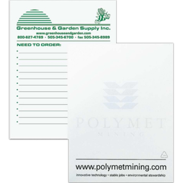 "4 1/8"" X 5 3/8"" - Recycled Scratch Pad With 100 Sheets Of 60 Lb. White Offset Paper Stock Photo"