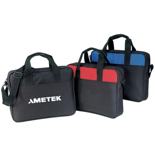 Silkscreen - Two-tone Polyester Portfolio Bag With Handles And Adjustable Shoulder Strap Photo
