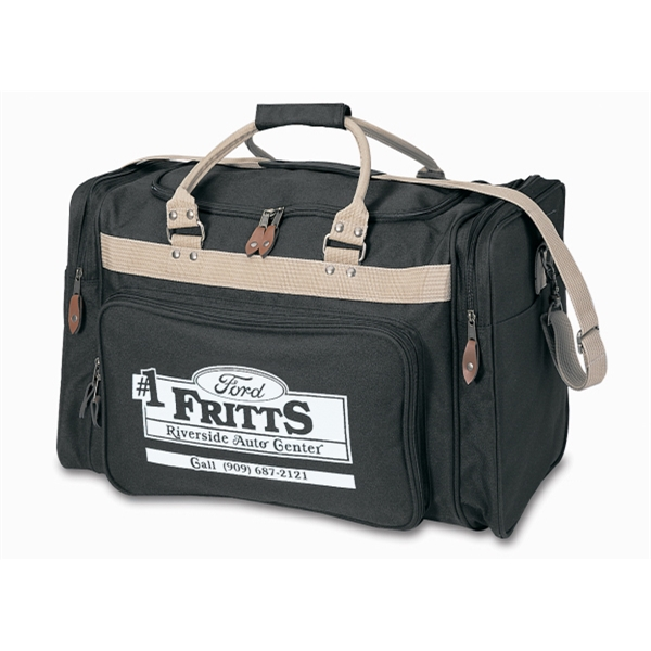 Embroidery - Travel Duffel Bag With U-shaped Top Lid, Bottom Stiffener And Front Pocket Photo