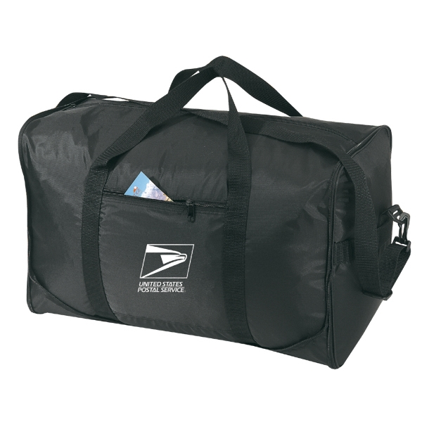 Embroidery - Fold-away Duffel Bag With Zippered Front Pockets, Handles And Straps Photo