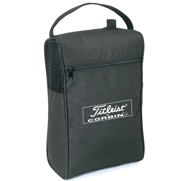 Embroidery - Nylon Shoe Bag With Side Mesh Vents, Handle And Zipper Pocket Photo
