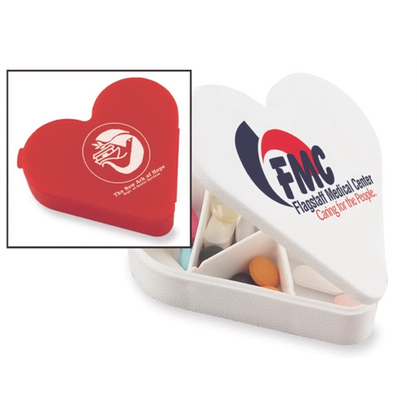 Heart Shape Pill Box With Seven Compartments And Snap Tight Lid Photo