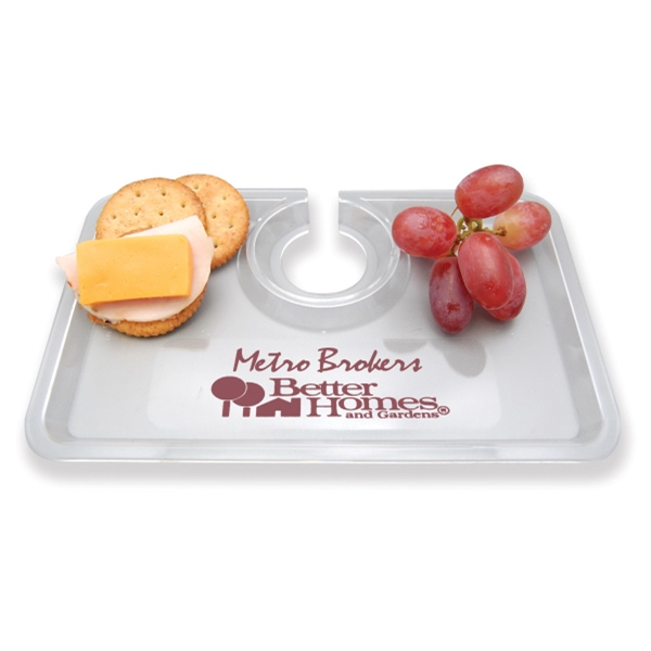 Take Two - Snack Tray That Holds Hors D'oeuvres And A Glass Of Wine Photo