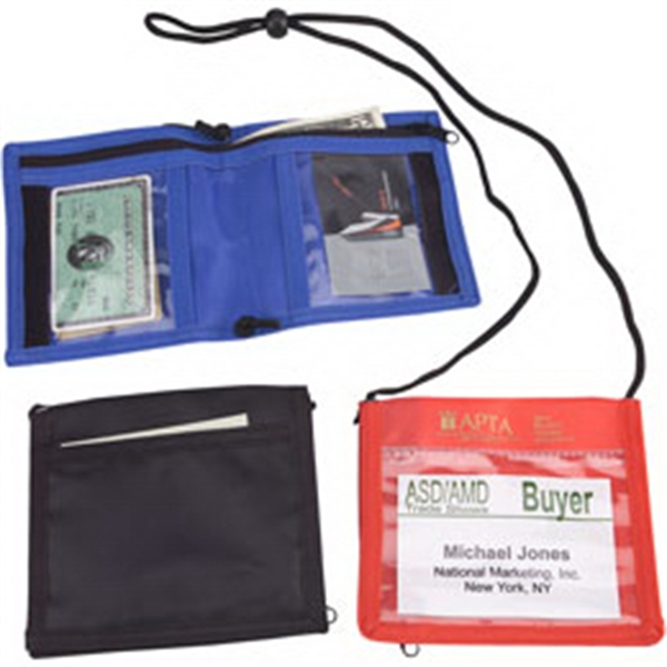 Nylon Bi-fold Neck Wallet With Adjustable Neck String And Four Pockets Photo