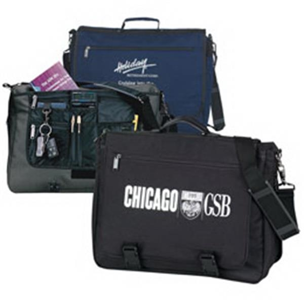 Expandable Briefcase With Two Main Compartments And Padded Shoulder Strap Photo