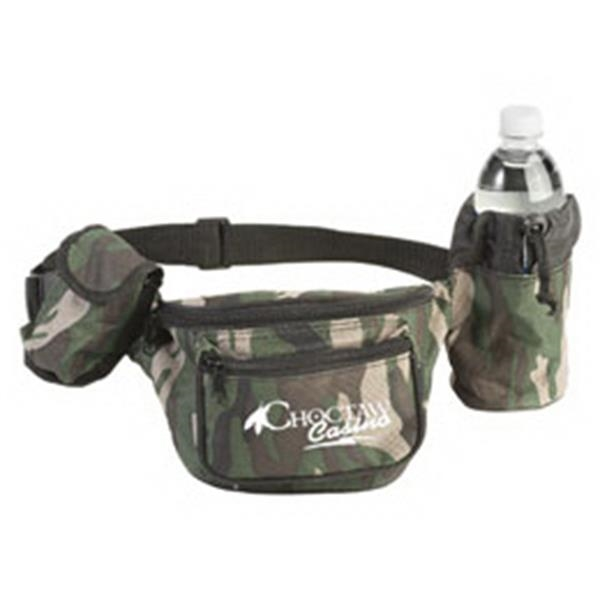 Camo Three Zipper Fanny Pack With Cell Phone Holder And Bottle Holder Photo