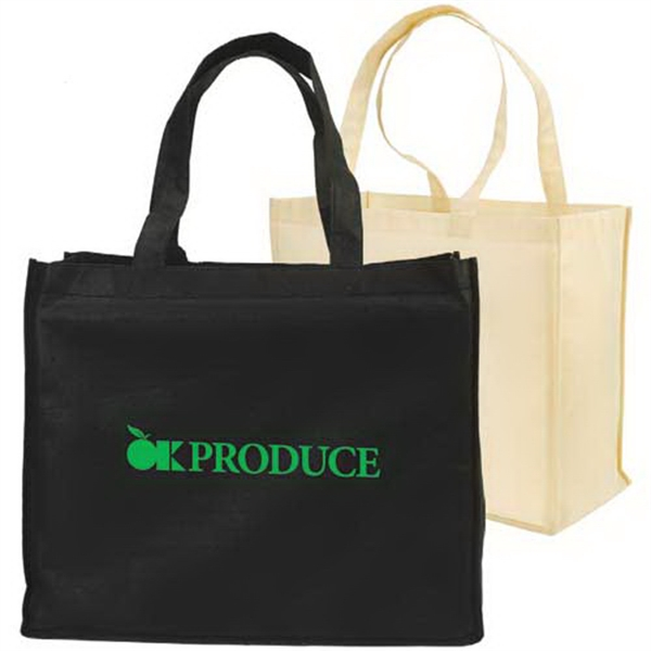 "Non-woven Full-gusseted Shopping Tote Bag, 18"" X 15"" X 8"" Photo"