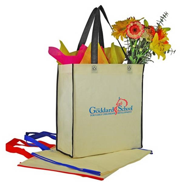 Two-tone Non-woven Vertical Shopping Tote Bag Photo