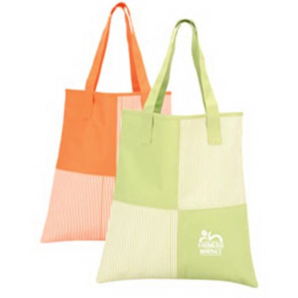 Polyester Fashionable Tote Bag With Fine Stripe Pattern Photo