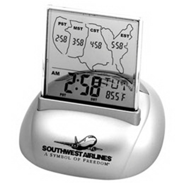 Atomic Clock - Atomic Alarm Clock With Calendar And Thermometer On Metallic Silver Base Photo