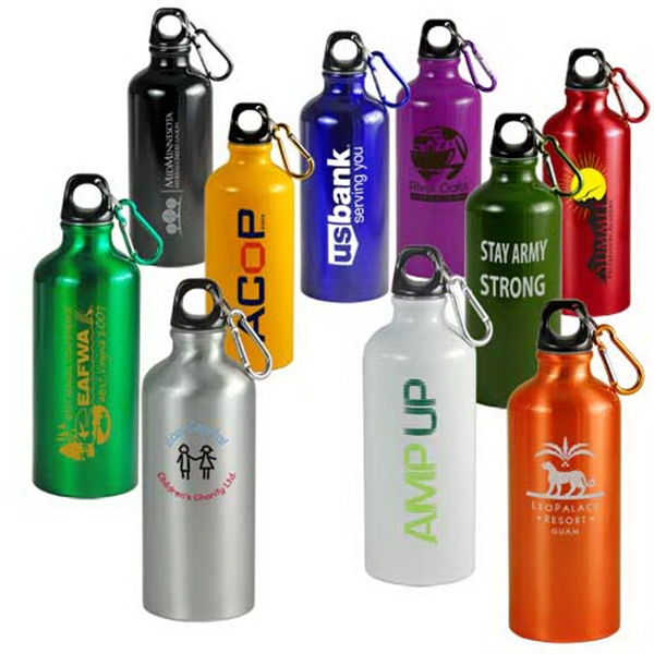 Aluminum Sports Water Bottle, With Carabiner Clip On Loop Cap Photo