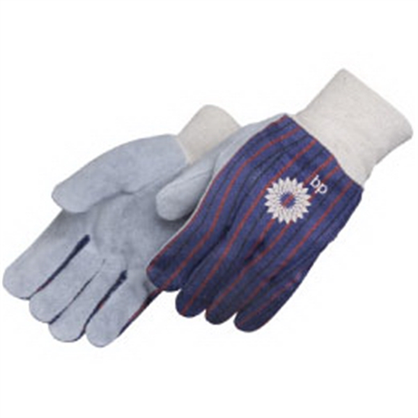 Clute Pattern Split Leather Work Gloves With Canvas Back And White Knit Wrist Photo
