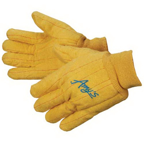Medium Weight Golden Chore Gloves With Clute Pattern. Men's Sizes Photo
