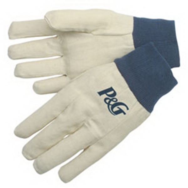 Canvas Gloves With Blue Knit Wrist, Straight Thumb And Clute Pattern Photo