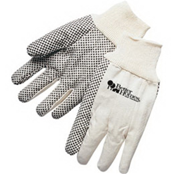 Fluorescent Blue Canvas Work Gloves With Black Pvc Dots On Palm Photo