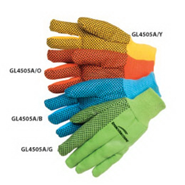 Fluorescent Green - Canvas Work Gloves With Black Pvc Dots, 10 Oz Photo