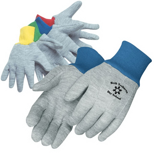 Kid's Gray Jersey Gloves With Elastic Knit Wrist In Assorted Colors, Clute Pattern Photo