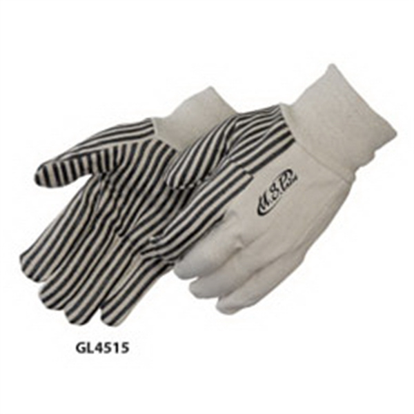 Canvas Work Gloves With Black Pvc Stripes Photo