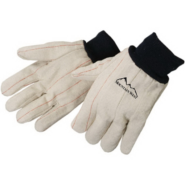 Double Palm Canvas Gloves With Blue Wrist Photo