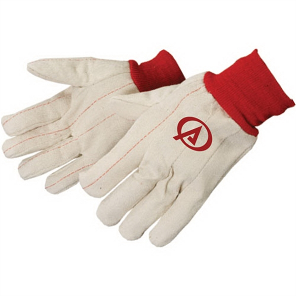 Double Palm Canvas Gloves With Red Wrist Photo
