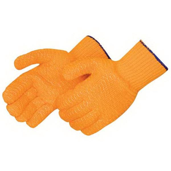 Blank, Orange Knit Glove With 2-sided Clear Pvc Honeycomb Photo