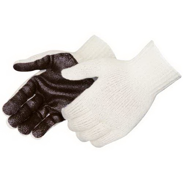 Brown Pvc Palm Coated Knit Gloves With Elastic Knit Wrist, Blank Photo
