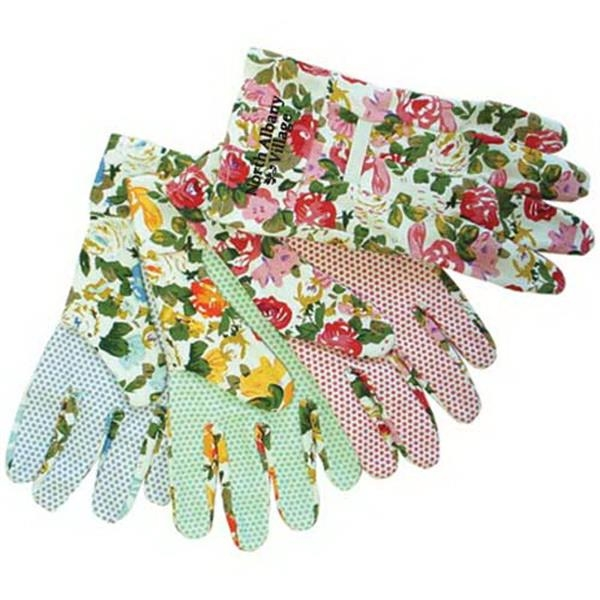 Ladies Assorted Color Floral Canvas Gloves Photo