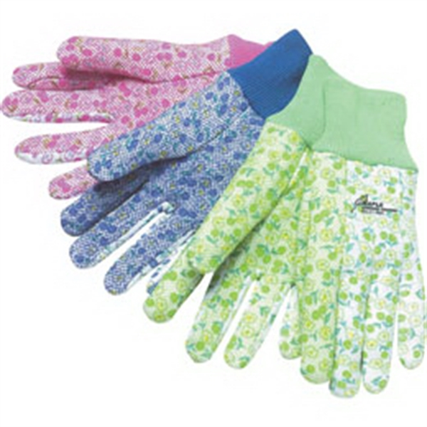 Cotton Gardening Gloves With Mini Pvc Dots And Assorted Floral Pattern Photo