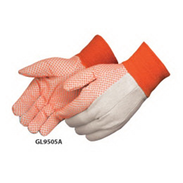 Canvas Work Gloves With Orange Pvc Dots On Palm, Index Finger And Thumb Photo