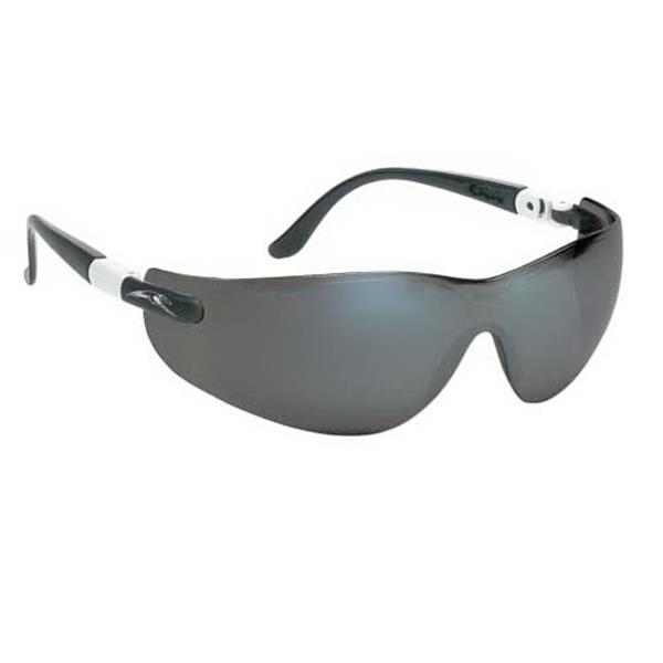 Wrap-around Safety Glasses With Ratchet Temples And Silver Mirror Lens Photo