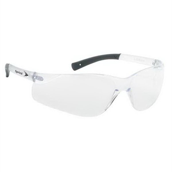 Clear Lens With Clear Frame. Lightweight Wrap Around Safety Glasses Photo