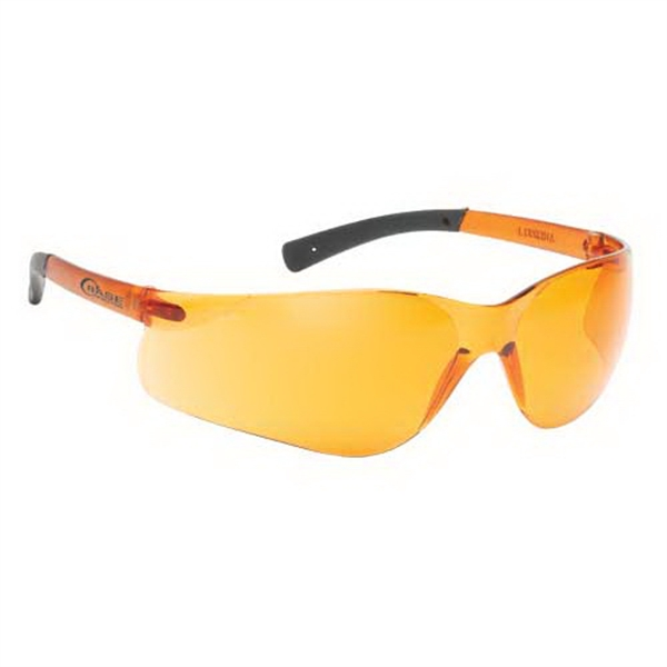 Orange Lens With Self Frame. Lightweight Wrap Around Safety Glasses Photo