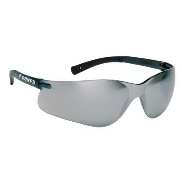 Silver Mirror Lens With Self Frame. Lightweight Wrap Around Safety Glasses Photo